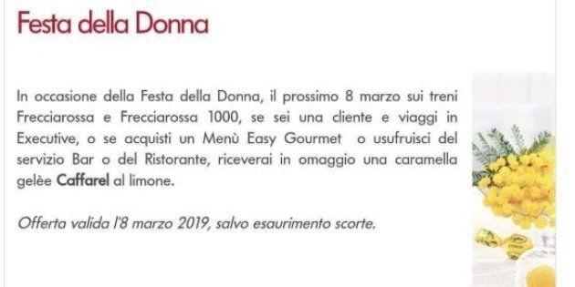 Trenitalia regala una caramella al limone alle donne che viaggiano l'8 marzo e si scatena l'ironia