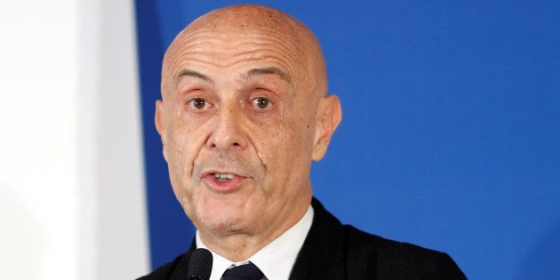 Italy's Interior Minister Marco Minniti speaks during the news conference at the end of the G7 Interior...