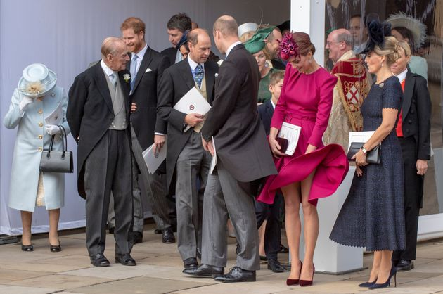 WINDSOR, ENGLAND - OCTOBER 12: Queen Elizabeth II, Prince Philip, Duke of Edinburgh , Prince Harry, Duke...