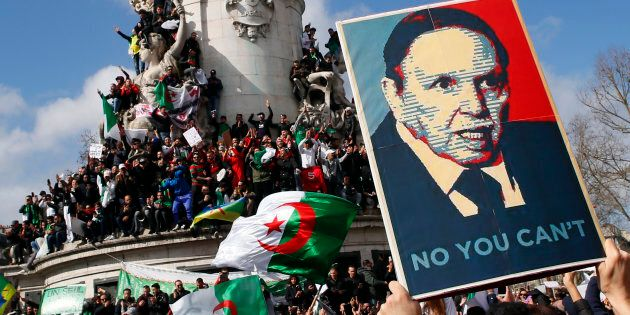 Demonstrators stage a protest to denounce President Abdelaziz Bouteflika's bid for a fifth term on Place...