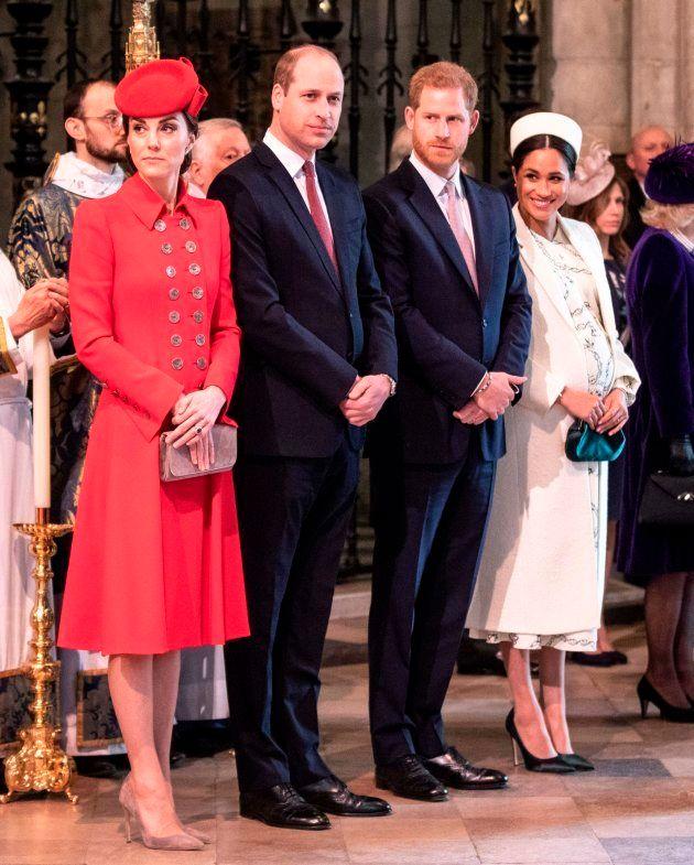 (L-R) Britain's Catherine, Duchess of Cambridge, Britain's Prince William, Duke of Cambridge, Britain's...