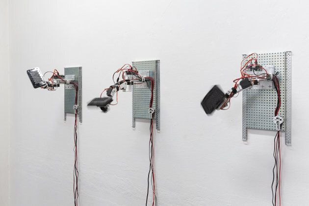 Emilio Vavarella, Do You Like Cyber?, 2017. Site specific sound installation with three robotic arms...