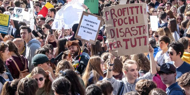 ROME, ITALY - 2019/03/15: Students in the streets in Rome and around 200 other Italian cities for the...
