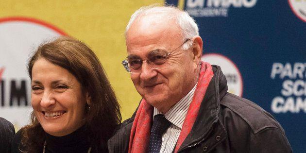 ROME, ITALY - 2018/01/29: Carlo Sibilia (L), Carla Ruocco (C) and Elio Lannutti (L), Italian journalist...