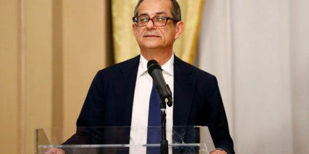 FILE PHOTO: Italian Economy Minister Giovanni Tria speaks at a joint news conference with European Economic...