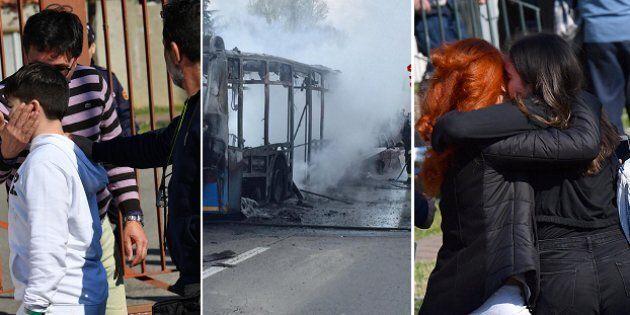 Le immagini dell'autobus dato alle fiamme e l'abbraccio dei ragazzini con le