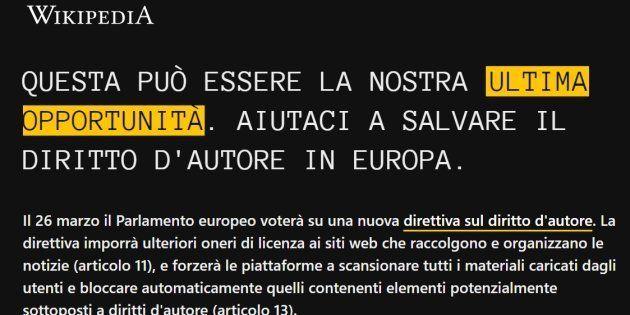 Wikipedia Italia offline in vista del voto sul
