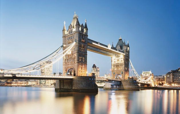 UK,London,cityscape of London with Tower Bridge and River Thames at