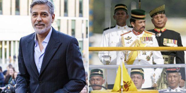 George Clooney a sinistra, a destra il sultano del Brunei Hassanal Bokiah in un'uscita