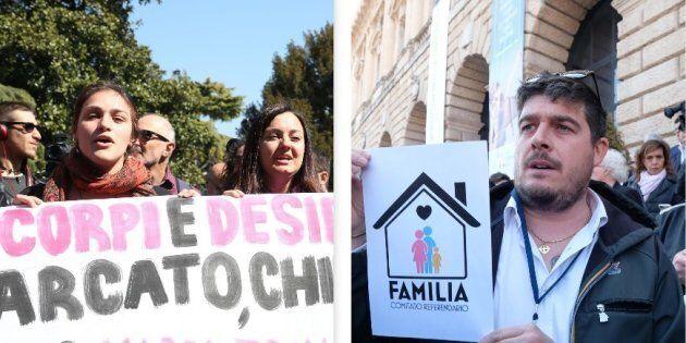 Le piazze di Verona. Fra Forza Nuova e le femministe c'è la Polizia in tenuta antisommossa