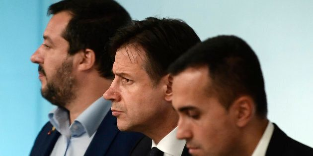 (From L) Italy's Deputy Prime Minister and Interior Minister, Matteo Salvini, Italy's Prime Minister,...