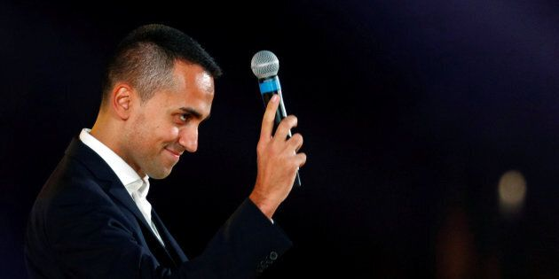 Italian Deputy PM Luigi Di Maio speaks at the 5-Star Movement party's open-air rally at Circo Massimo...
