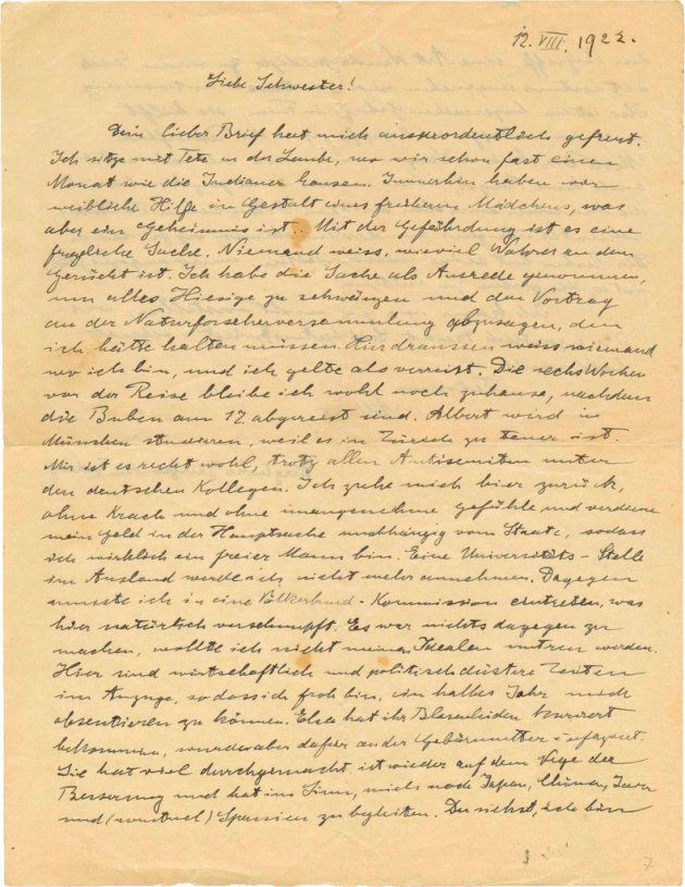 This undated photo released by the Kedem auction house shows a copy of Albert Einstein's letter from...