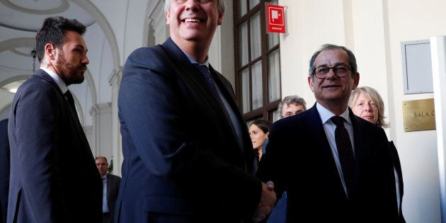 Italian Economy Minister Giovanni Tria and Eurogroup President Mario Centeno arrive for a joint news...