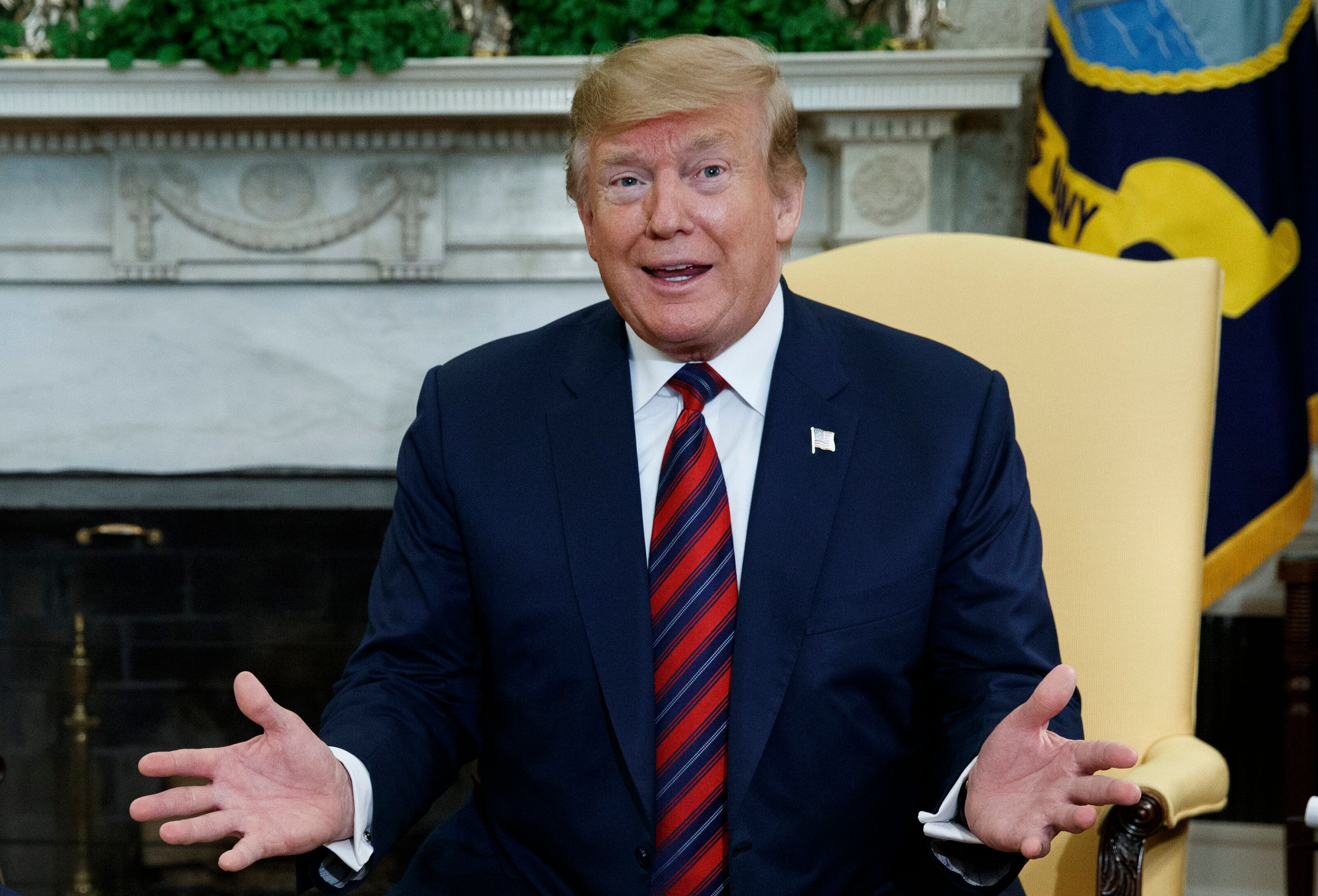 In this April 11, 2019, photo, President Donald Trump speaks during a meeting with South Korean President Moon Jae-in in the Oval Office of the White House in Washington. (AP Photo/Evan Vucci)