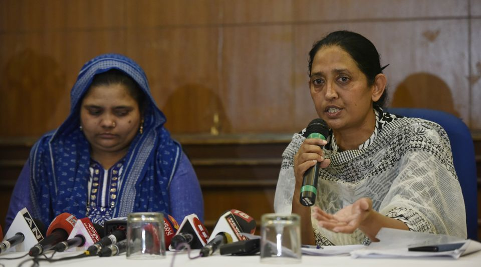 Bilkis Bano with her lawyer, Shobha Gupta, addressing a press conference in New Delhi on 24 April,