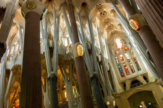 Interior de la Sagrada Familia, en