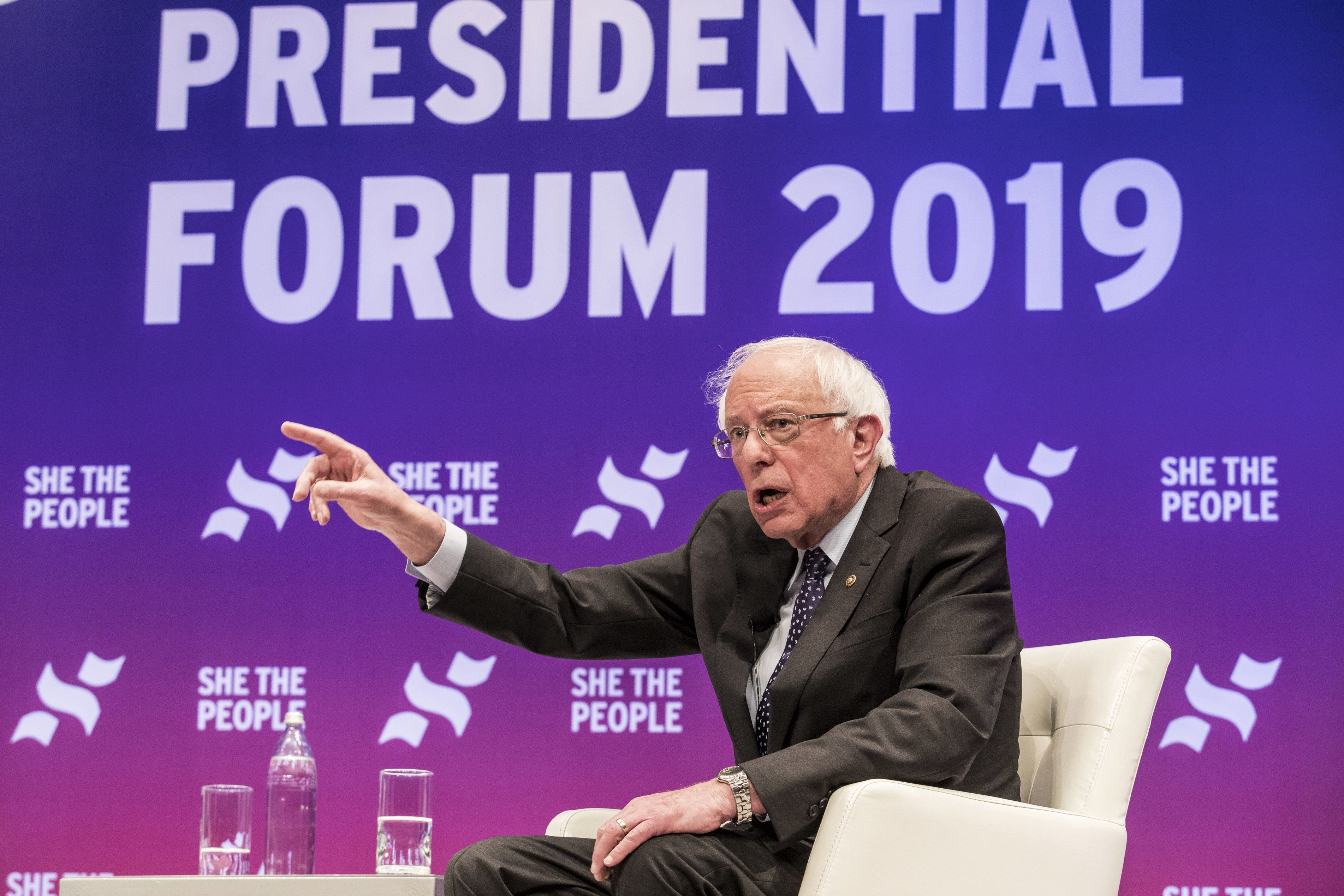 Senator Bernie Sanders, an Independent from Vermont and 2020 presidential candidate, speaks during a She the People voter forum in Houston, Texas, U.S., on Wednesday, April 24, 2019. She the People's forum will gather more than 40 local and national partner organizations and 1,000 women of color in politics from more than 28 states. Photographer: Scott Dalton/Bloomberg via Getty Images