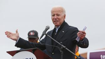 BOSTON, MA - APRIL 18:  Former Vice President Joe Biden speaks during a rally for striking workers outside the South Bay Stop & Shop on April 18, 2019 in Boston, Massachusetts. (Staff Photo By Angela Rowlings/MediaNews Group/Boston Herald via Getty Images)