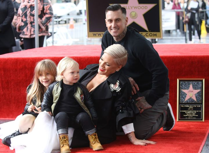 Pink's husband, motocross champ Carey Hart, and their two kids, Willow and Jameson, supported her as she got her star on the Hollywood Walk of Fame in February.