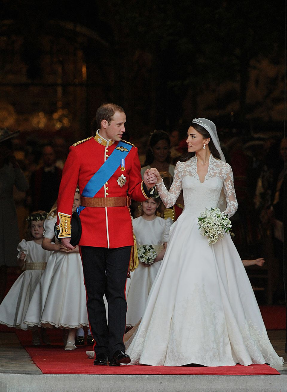 Prince William and Catherine, Duchess of Cambridge, come out of Westminster Abbey in London after their wedding service on Ap