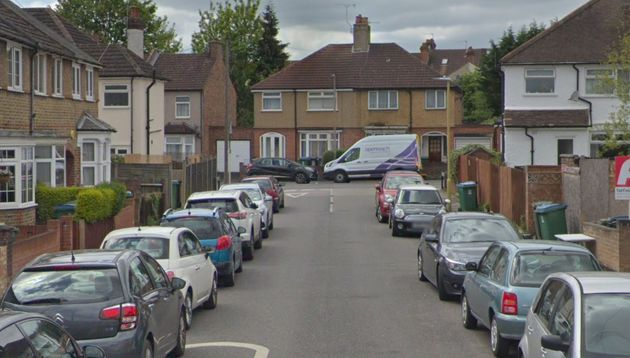 The two female victims were found in a quiet residential street in Watford, Herts, above, after a struggle...