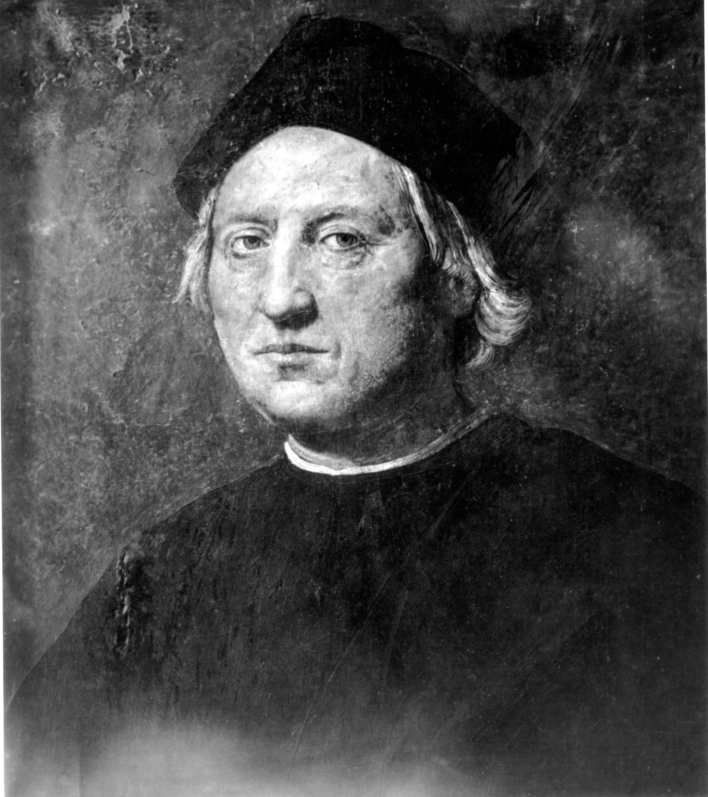 This is an undated portrait of Italian explorer Christopher Columbus attributed to Rodolfo Ghirlandaia. The original is in the Naval Museum of Pegli in Genoa, Italy, Columbus' birthplace.  (AP Photo)