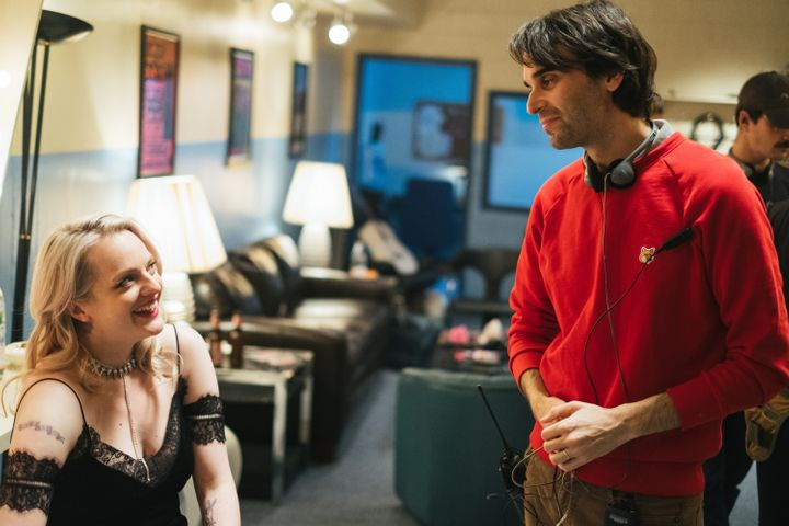 "Elisabeth Moss and Alex Ross Perry on the set of ""Her Smell."""