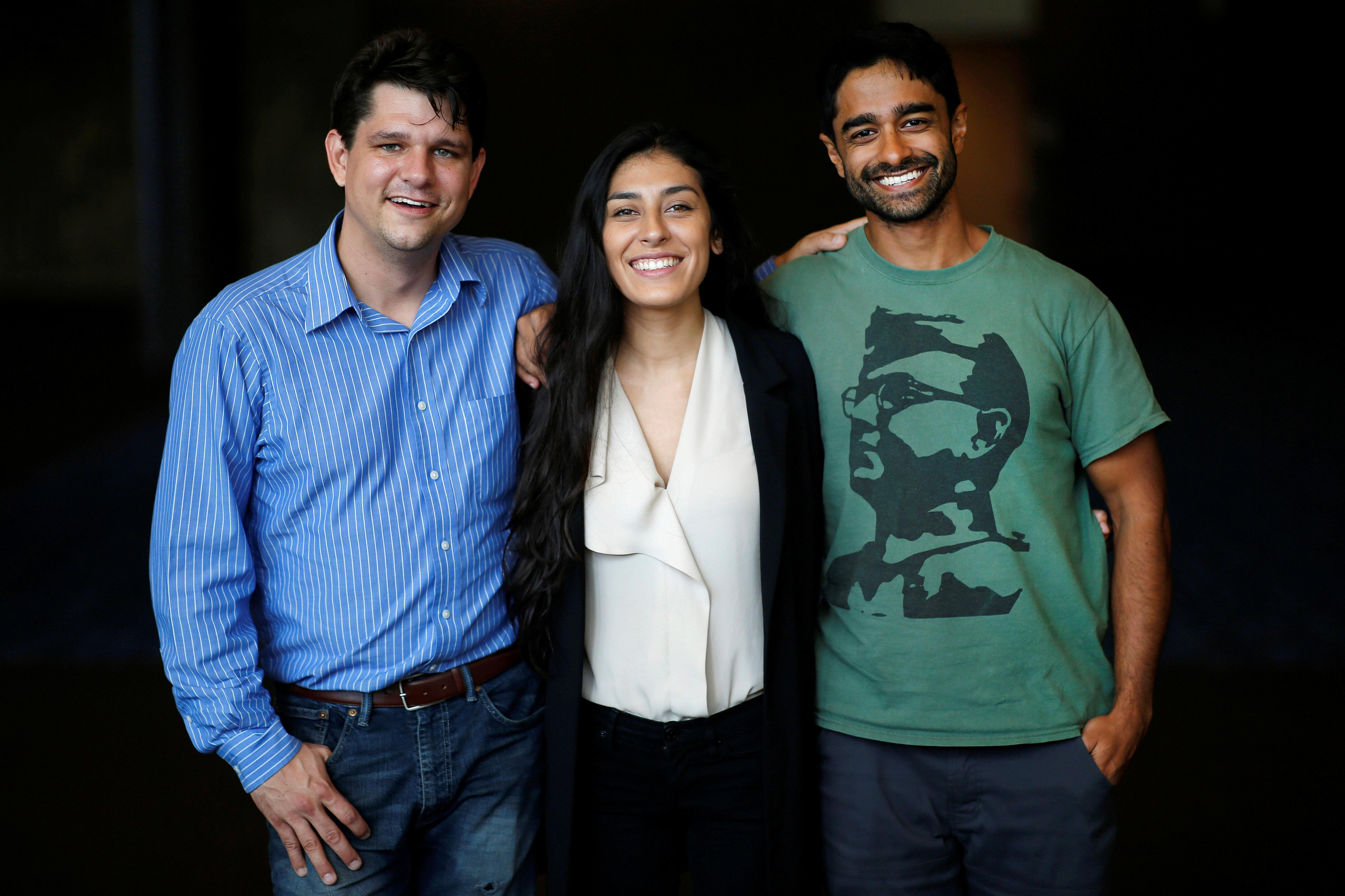 Corbin Trent, Alexandra Rojas and Saikat Chakrabarti of Justice Democrats
