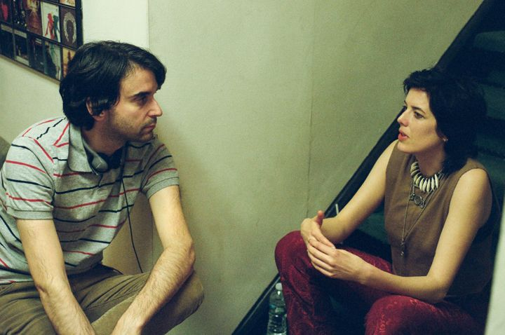"Alex Ross Perry and Agyness Deyn on the set of ""Her Smell."""