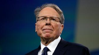 NRA executive vice president and CEO Wayne LaPierre is shown at the National Rifle Association annual convention at Lucas Oil Stadium, Friday, April 26, 2019, in Indianapolis. (AP Photo/Evan Vucci)