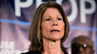 UNITED STATES - APRIL 10: DCCC Chair Cheri Bustos, D- Ill., speaks at the House Democrats'  2019 Issues Conference opening press conference at the Landsdowne Resort and Spa in Leesburg, Va., on Wednesday, April 10, 2019. (Photo By Bill Clark/CQ Roll Call)