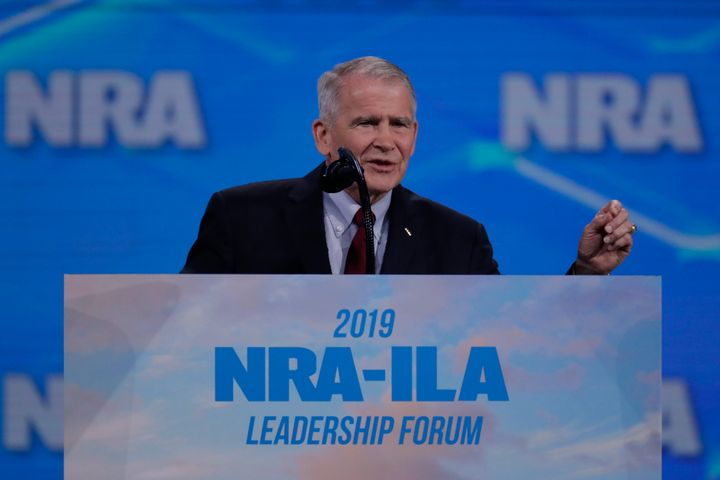 Nation Rifle Association President Oliver North speaks at the National Rifle Association Institute for Legislative Action Lea