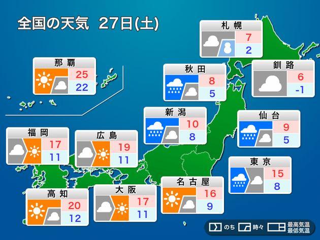 4月27日(土)の全国天気