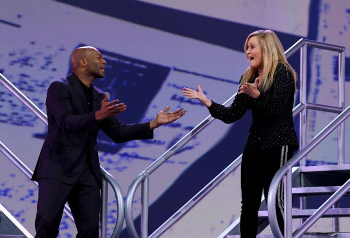 "Brandon Victor Dixon and Samantha Bee sing at the ""Not The White House Correspondents Dinner"" Friday in Washington."
