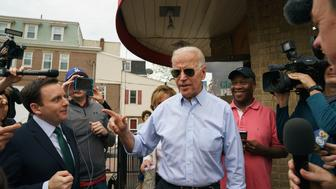 Democratic presidential candidate and former Vice President Joe Biden speaks outside of Gianni's Pizza, in Wilmington Del., Thursday, April 25, 2019. (Jessica Griffin/The Philadelphia Inquirer via AP)
