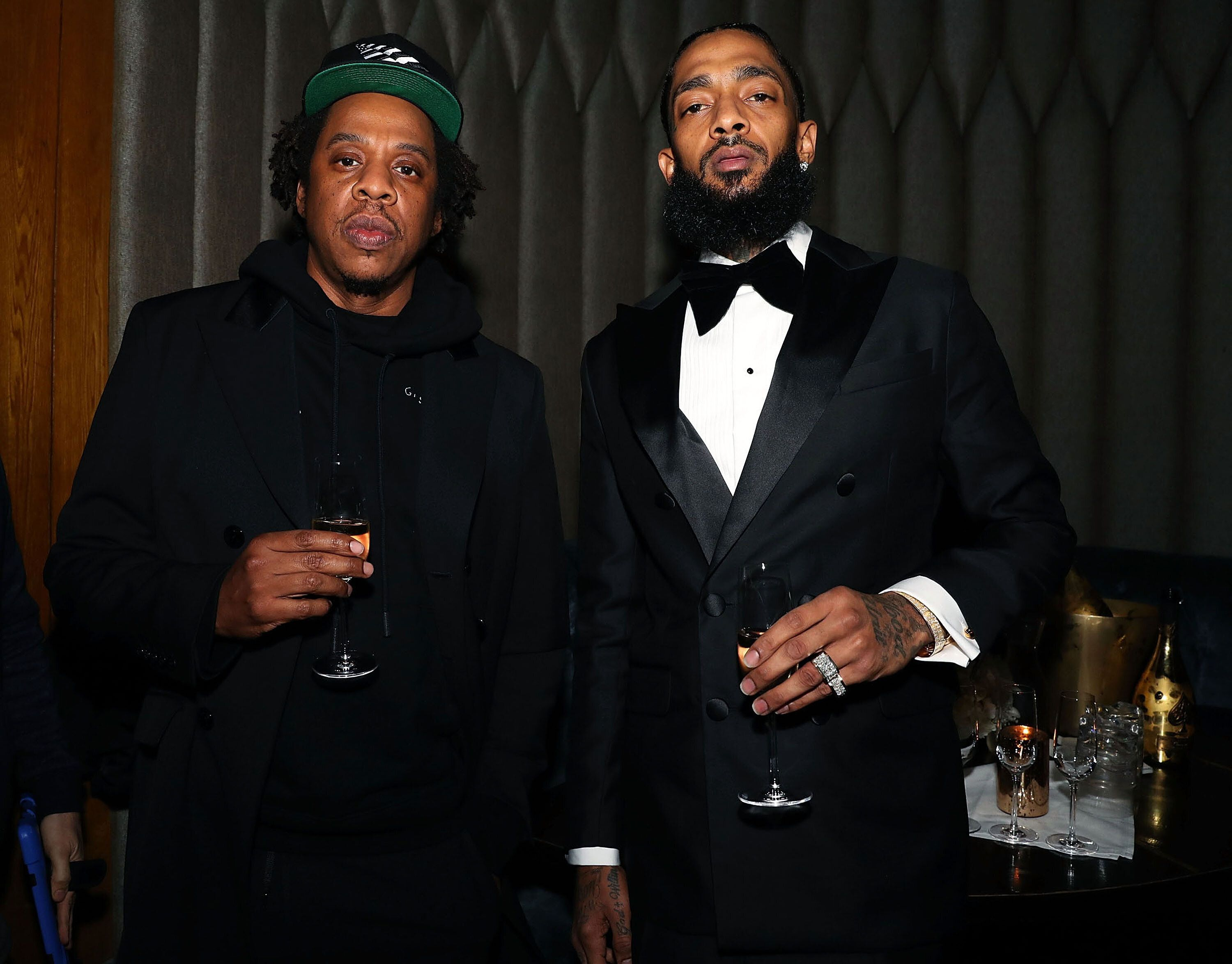 LOS ANGELES, CA - FEBRUARY 08:  Shawn 'Jay-Z' Carter and Nipsey Hussle attend Nipsey Hussle Grammy Celebration at The Peppermint Club on February 8, 2019 in Los Angeles, California.  (Photo by Shareif Ziyadat/Getty Images)