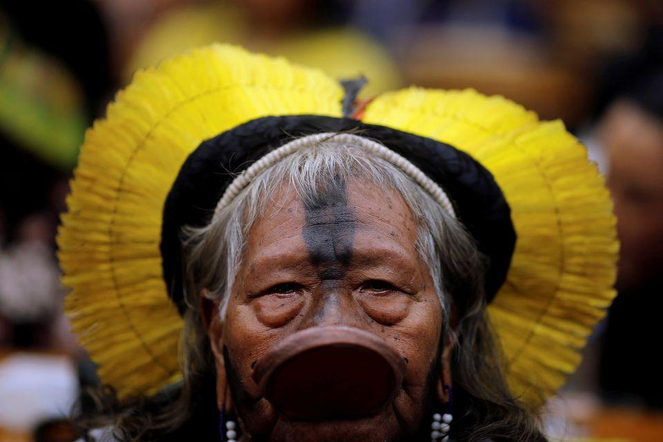 Raoni Metuktire, líder do grupo indígena brasileiro Kayapó em reunião no...