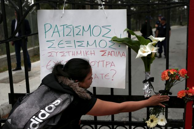Flowers are laid near to the presidential palace in Nicosia,
