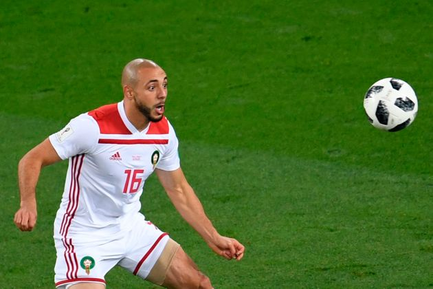 L'international marocain Nordin Amrabat lors de la Coupe du monde de football en Russie