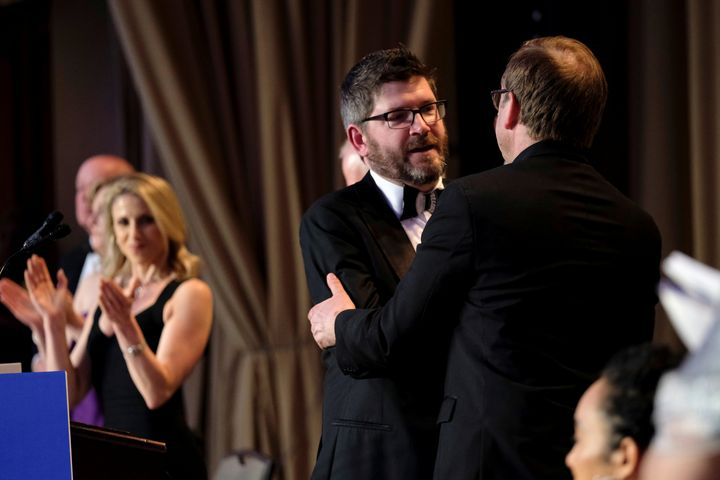 Sirius XM's Oliver Knox, the president of the White House Correspondents' Association, served as host of the group's annual g