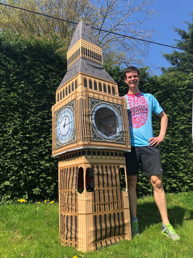 Lukas Bates is hoping to beat the world record for the fastest marathon dressed as a landmark