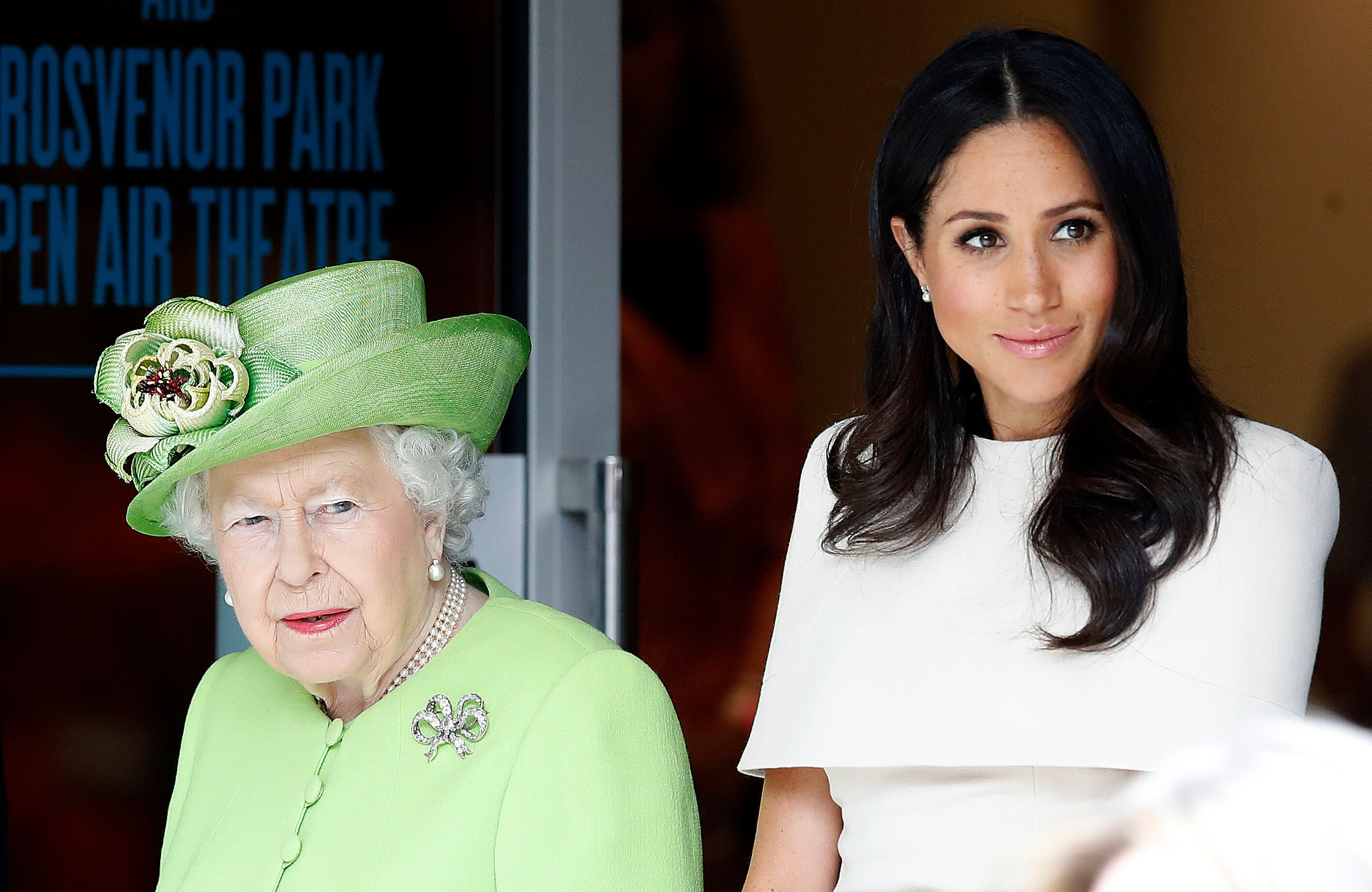 The Duchess of Sussex with the Queen in Cheshire last July [Photo: PA]