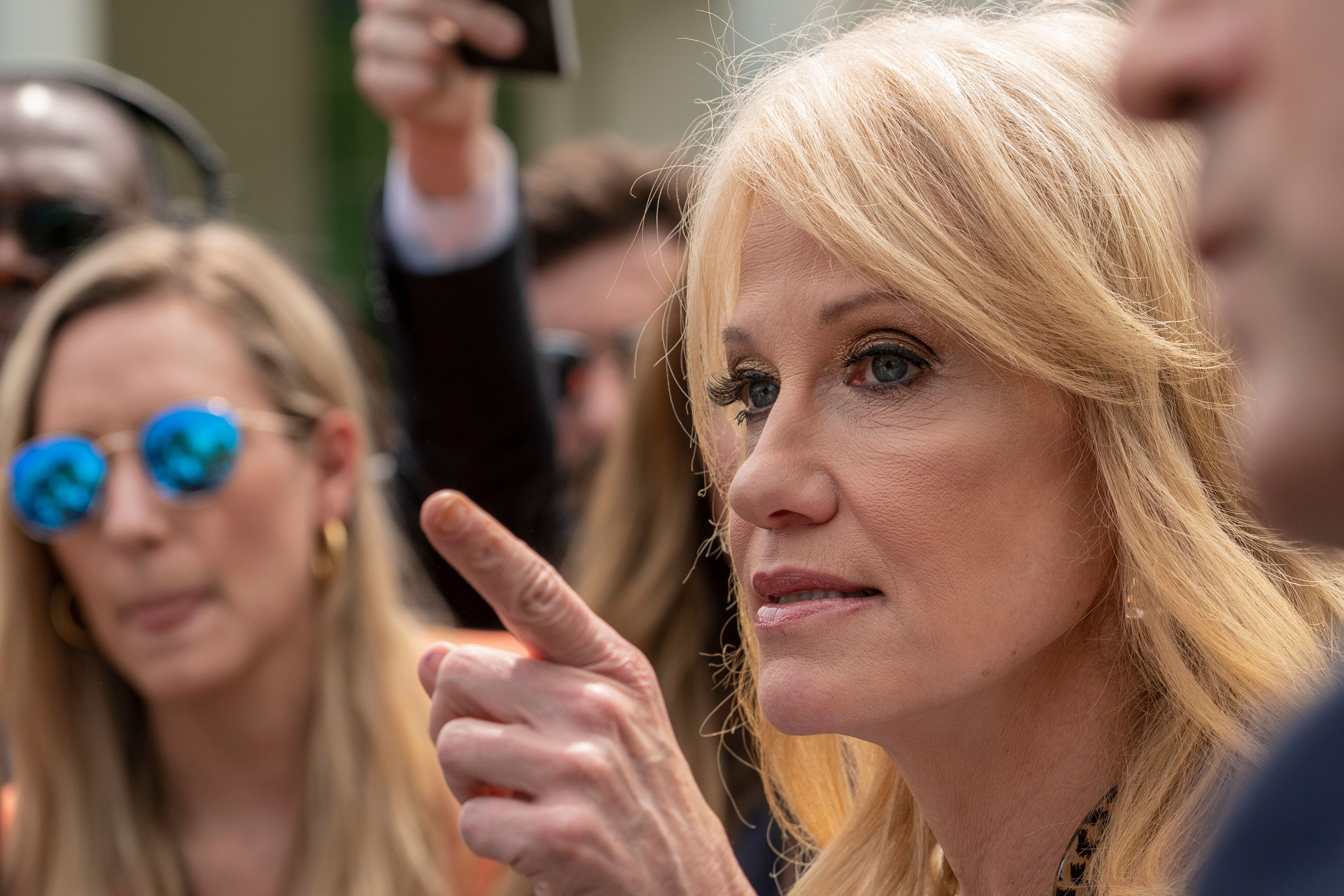 Kellyanne Conway, Counselor to the President Trump, speaks to reporters outside the White House April 18, 2019 in Washington, DC. The Department of Justice today released special counsel Robert Mueller's report on Russian election interference in the 2016 U.S. presidential election. (Photo by Ken Cedeno/Sipa USA)