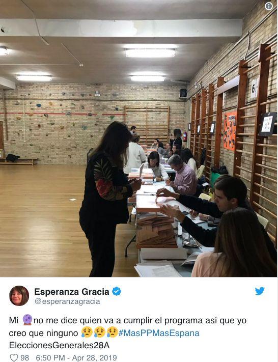 Esperanza Gracia la lía al dar a entender por error que ha votado a este