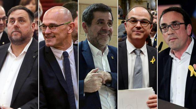 Les séparatistes catalans Oriol Junqueras, Raul Romeva, Jordi Sanchez, Jordi Turull et Josep Rull...
