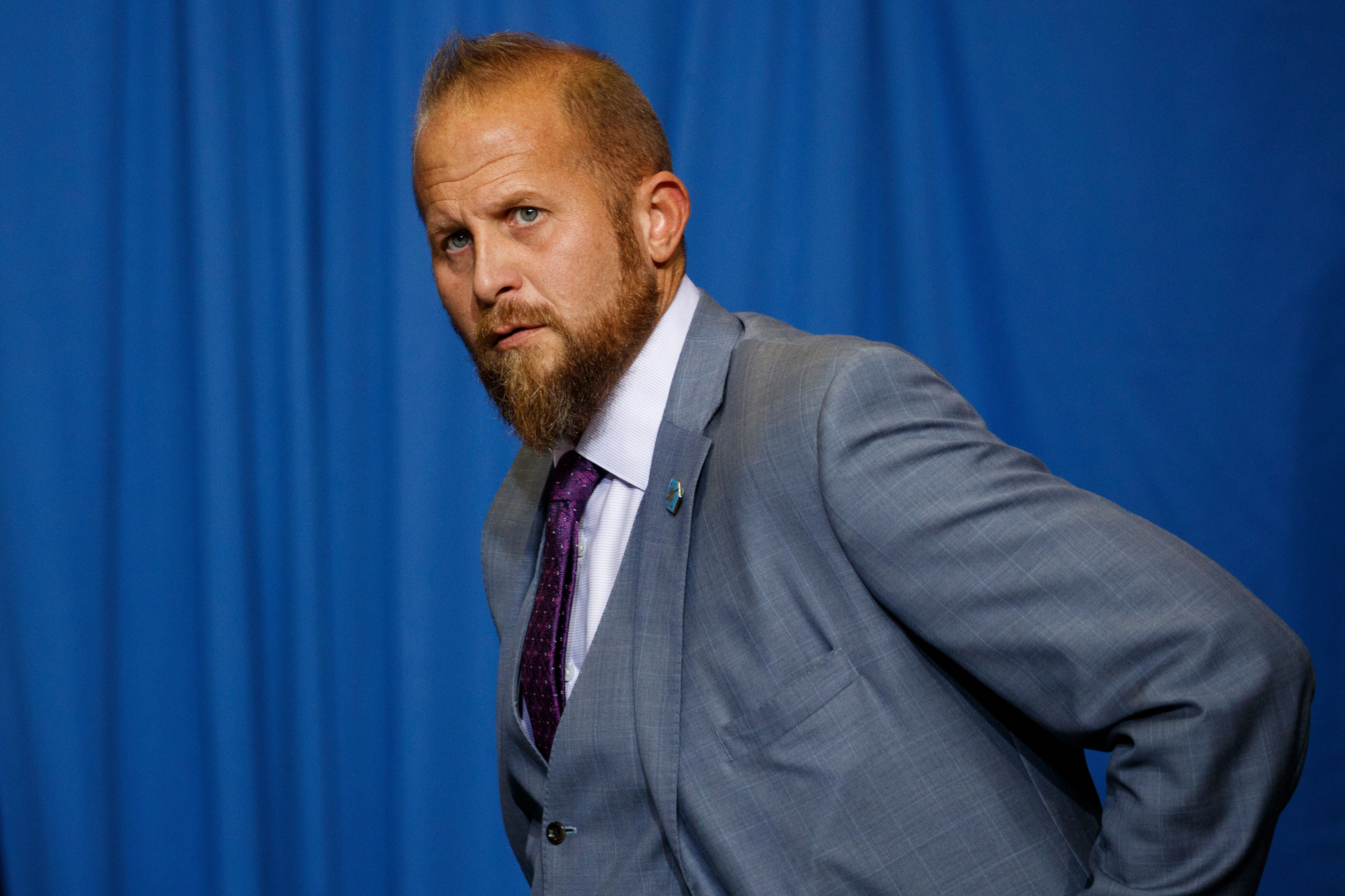 Brad Parscale, campaign manager for President Donald Trump, arrives for a campaign rally at the Landers Center Arena, Tuesday, Oct. 2, 2018, in Southaven, Miss. (AP Photo/Evan Vucci)