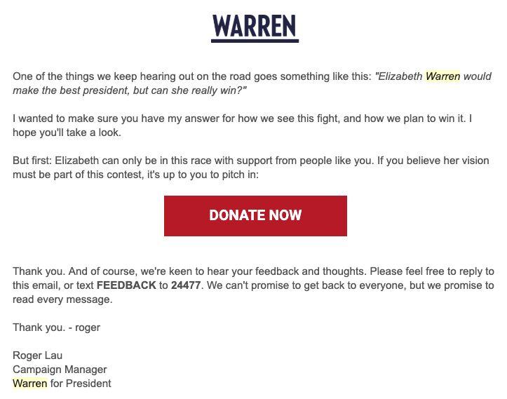 엘리자베스 워렌은 3월27일일 지지자들에게 보낸 이메일에서 '당선 가능성'에 대해