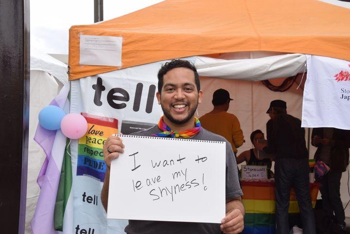 「I want to leave my shyness!(シャイな性格を、置いていきたい!)」と書いてくれたのは、英語を話すLGBTQの人たちを支援する「ストーンウォール・ジャパン」代表のネルソン・イサベルさん。ネルソンさんは4月に代表になったばかり。<br />ストーンウォール・ジャパンの活動を広げて、もっと多くの人をサポートするためにも、新しい時代にシャイな性格を変えていきたいそうです。