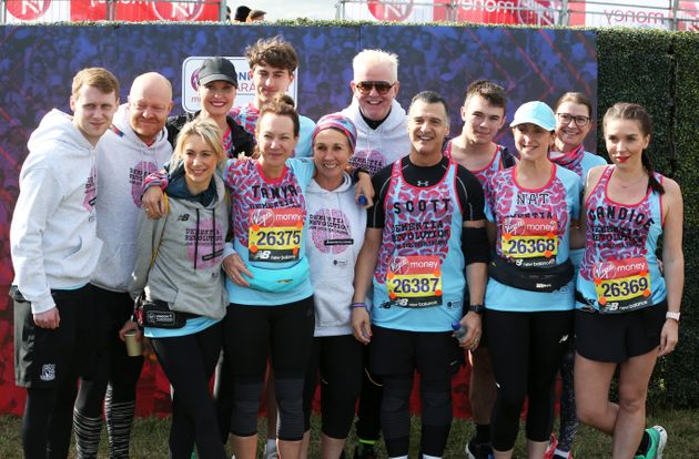 The team of celebrities who completed the marathon on Sunday